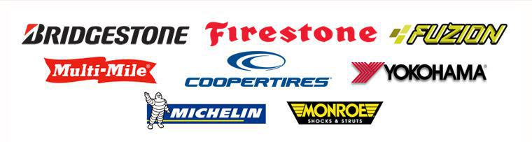 We carry products from Bridgestone, Firestone, Fuzion, Multi-Mile, Cooper Tires, Yokohama, Michelin®, and Monroe Shocks & Struts. We also carry MagnaFlow Exhaust Systems.