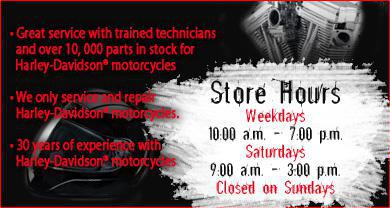 Great service with trained technicians and over 10,000 parts in stock for Harley-Davidson® motorcycles. Biker Clothing from ICON & Z1R. Leather jackets & chaps to textile jackets with armour, rain gear from FIRSTGEAR and a full line of gloves & Helmets from full face to half style.