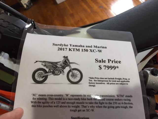 2017 ktm 150 xc-w for sale in osage beach, mo | surdyke yamaha