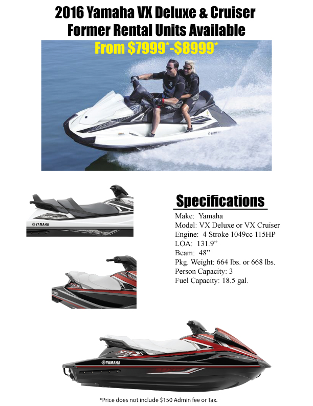 2016 Yamaha VX Cruiser Deluxe Rental Units for sale 72804