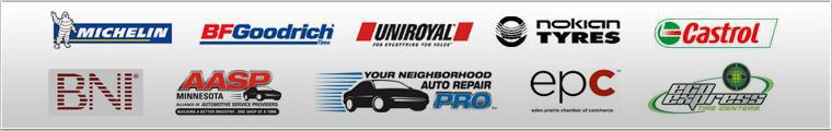 We proudly carry products from Michelin®, BFGoodrich®, Uniroyal®, Nokian and Castrol. We are associated with BNI, AASP Minnesota, Your Neighborhood Auto Repair Pro, EPC and Eco Express Tires.