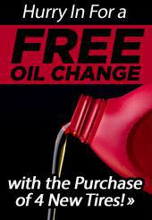 Hurry In For a FREE Oil Change with the Purchase of 4 New Tires!