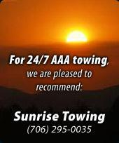 For 24/7 AAA towing, we are pleased to recommend Sunrise Towing. Call (706) 295-0035.