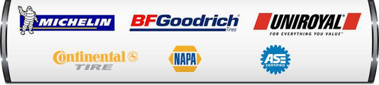 We proudly carry products from Michelin®, BFGoodrich®, Uniroyal®, and Continental. NAPA. Our technicians are ASE certified.