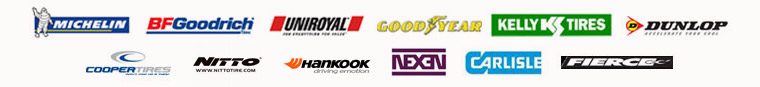 We carry Michelin®, BFGoodrich®, Uniroyal®, Goodyear, Kelly Tires, Dunlop, Cooper Tires, Nitto, Hankook, Nexen, Carlisle, and Fierce Tires products.