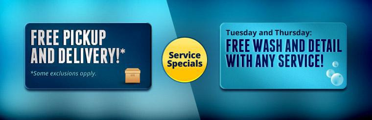 Service Specials: Get free pickup and delivery and on Tuesdays and Thursdays get a free wash and detail with any service! Click here for a list of our services.