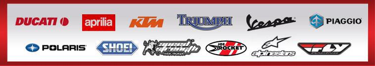 We proudly offer products from Ducati, Aprilia, KTM, Triumph, Vespa, Piaggio, Polaris, Shoei, Speed & Strength, Joe Rocket, Alpinestars, and Fly Racing.