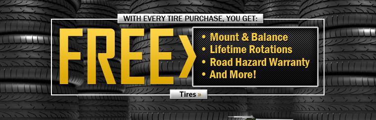 With every tire purchase, you get free stuff! Click here to shop our tires now.