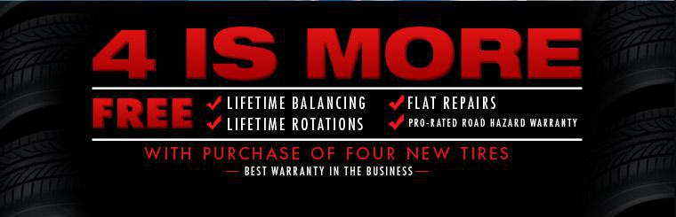 Get free lifetime balancing, lifetime rotation, flat repair, and pro-rated road hazard warranty with the purchase of four tires.