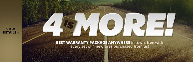 We offer the best warranty package anywhere in town, free with every set of 4 new tires purchased from us! Click here for details.