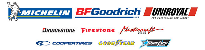 We carry products from Michelin®, BFGoodrich®, Uniroyal®, Bridgestone, Firestone, Mastercraft, Cooper, Goodyear, and Starfire.