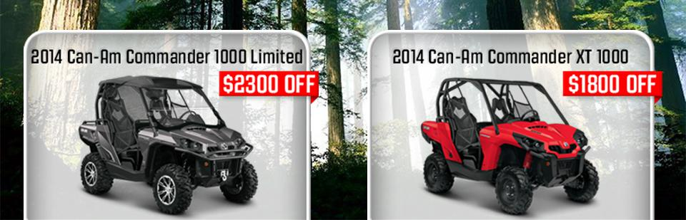 2014 Can-Am Commander 1000 Limited $2300 Off - 2014 Can-Am Commander XT 1000 $1800 Off