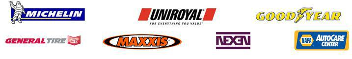We carry products from Michelin®, Uniroyal®, Goodyear, General, Maxxis, Nexen, and NAPA.
