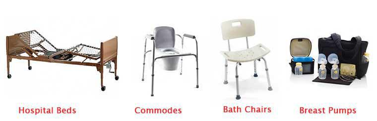 Hospital Beds, Commodes, Bath Chairs, Shower Chairs, Breast Pumps, Hospital Bed Rentals