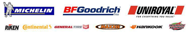 We proudly carry products from Michelin®, BFGoodrich®, Uniroyal®, Riken, Continental, General, Maxxis, Hankook, Capital, and Interstate Batteries.