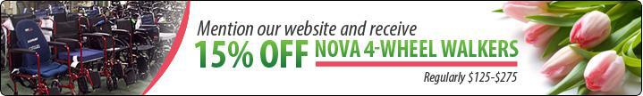 Mention our website and receive 15% off Nova 4-wheel Walkers. Regularly $125-$275.