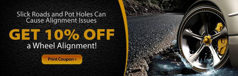 Get 10% off a wheel alignment! Click here to print the coupon.