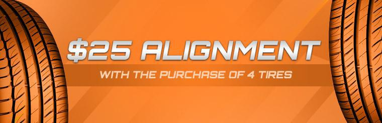 Get an alignment for $25 with the purchase of four tires! Click here to print the coupon.