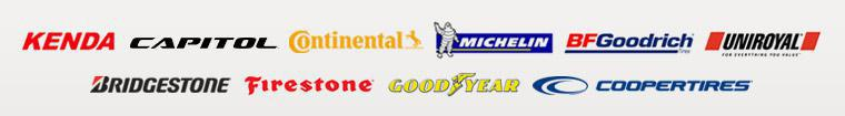 We carry products from Kenda, Capitol, Continental, Michelin®, BFGoodrich®, Uniroyal®, Bridgestone, Firestone, Goodyear, and Cooper.