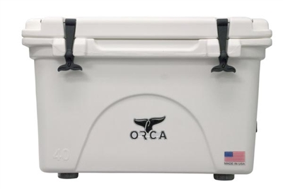 40 quart white ORCA cooler on whie background