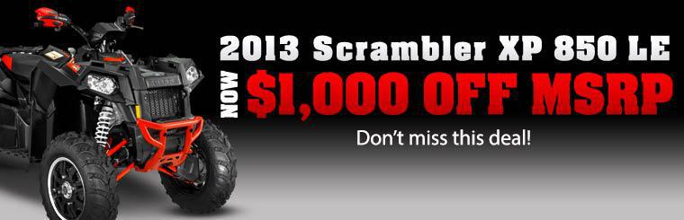 2013 Scrambler XP 850 LE is now $1,000 off MSRP. Don't miss this deal! Click here for more information.