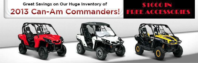 Take advantage of great savings on our huge inventory of 2013 Can-Am Commanders! Click here to browse the lineup.