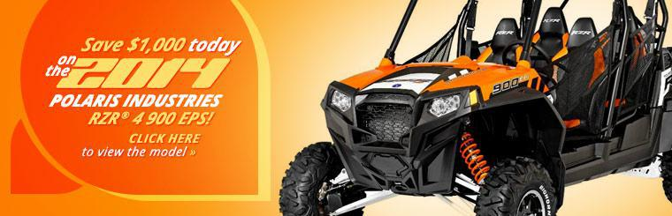 Save $1,000 today on the 2014 Polaris RZR® 4 900 EPS! Click here to view the model.