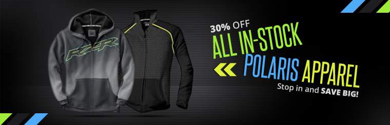 Get 30% off all in-stock Polaris apparel! Stop in and save big!