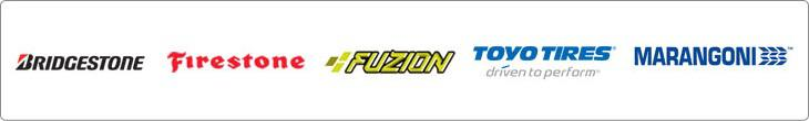 We proudly carry products from Bridgestone, Firestone, Fuzion, Toyo, and Marangoni.