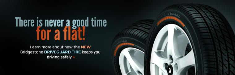 There is never a good time for a flat! Click here to learn more about how the new Bridgestone DriveGuard tire keeps you driving safely.