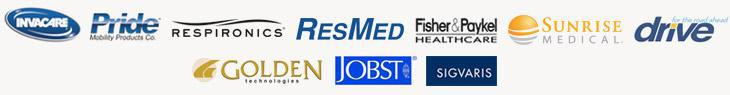 We carry products from Invacare, Pride, Respironics, ResMed, Fisher & Paykel, Sunrise Medical, Drive, Golden, Jobst, and Sigvaris.