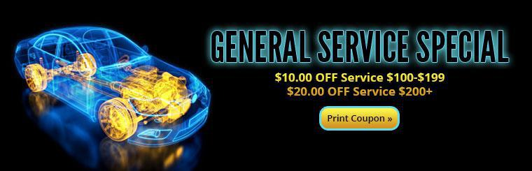 General Service Special: Get $10.00 off service between $100 and $199 or $20.00 off service over $200! Click here to print the coupon.
