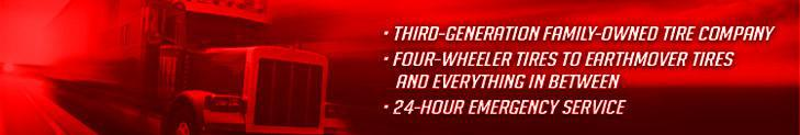 We are a third-generation family-owned tire company that specializes in four-wheeler tires to Earthmover tires—and everything in between. We proudly feature 24-hour emergency service.