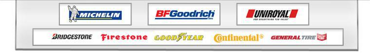We proudly carry products from Michelin®, BFGoodrich®, Uniroyal®, Bridgestone, Firestone, Goodyear, Continental, and General.