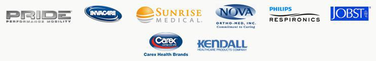 We proudly carry products from Pride, Invacare, Sunrise Medical, Nova Ortho-Me, Philips Respironics, Jobst, Carex, and Kendall.