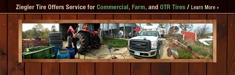 Ziegler Tire offers service for commercial, farm, and OTR tires. Click here to learn more.