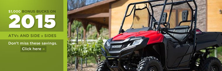 Get $1,000 Bonus Bucks on 2015 ATVs and side x sides! Click here to view our selection.