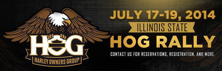 Join us for the Illinois State HOG Rally on July 17-19, 2014! Contact us for reservations, registration, and more.
