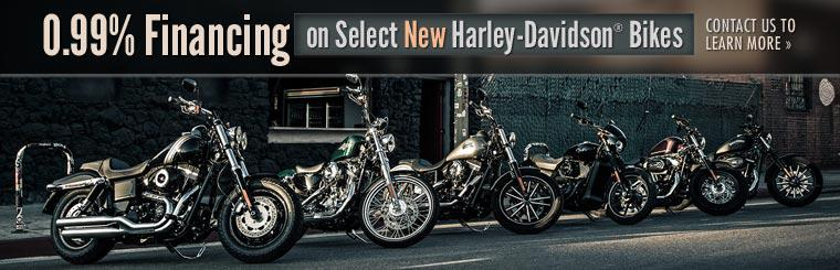 0.99% Financing on Select New Harley-Davidson® Bikes: Contact us to learn more.