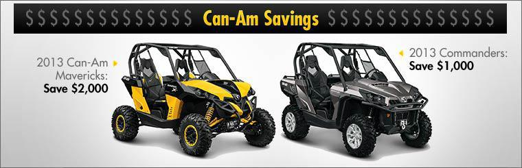 Can-Am Savings: Save $2,000 on a 2013 Can-Am Maverick and $1,000 on a 2013 Commander.