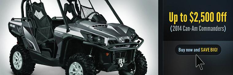 Up to $2,500 Off 2014 Can-Am Commanders: Buy now and save big!