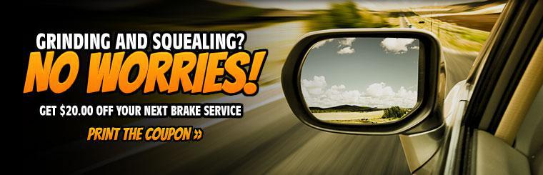 $20 Off Brake Service: Click here to print your coupon!