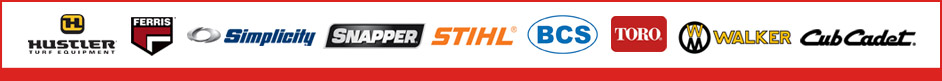 We carry products from Hustler, Ferris, Simplicity, Snapper, STIHL, BCS, Toro, Walker, and Cub Cadet.