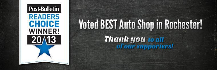 Babcock Auto Care is the 2013 Post-Bulletin Readers Choice Winner! Voted BEST Auto Shop in Rochester! Thank you to all of our supporters!