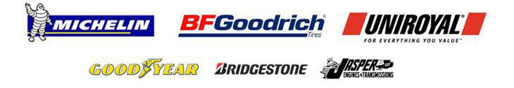 We carry products from Michelin®, BFGoodrich®, Uniroyal®, Goodyear, Bridgestone, and Jasper.