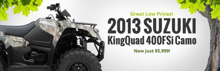 2013 Suzuki KingQuad 400FSi Camo is on sale for just $5,999! Click here to check it out.