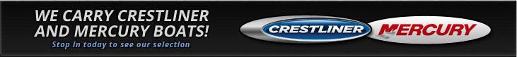 We carry Crestliner and Mercury boats! Stop in today to see our selection.