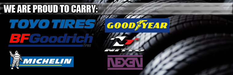 Total Auto Pros is proud to carry tires from Toyo, Goodyear, Michelin, BFGoodrich, Nexen, Nitto and more!