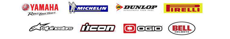 We carry products from Yamaha, Michelin®, Dunlop, Pirelli, Alpinestars, Icon, OGIO, and Bell Helmets.
