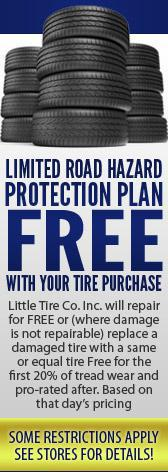 Get our Limited Road Hazard Protection Plan free with your tire purchase!